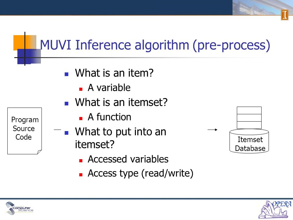 MUVI Inference algorithm (pre-process) Program Source Code Itemset Database .