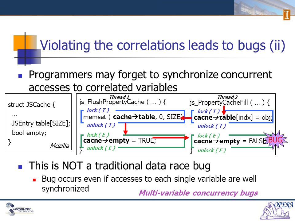 Programmers may forget to synchronize concurrent accesses to correlated variables This is NOT a traditional data race bug Bug occurs even if accesses to each single variable are well synchronized js_FlushPropertyCache ( … ) { memset ( cache  table, 0, SIZE); … cache  empty = TRUE; } js_PropertyCacheFill ( … ) { cache  table[indx] = obj; … cache  empty = FALSE; } Violating the correlations leads to bugs (ii) Multi-variable concurrency bugs struct JSCache { … JSEntry table[SIZE]; bool empty; } Thread 1Thread 2 lock ( T ) unlock ( T ) lock ( E ) unlock ( E ) Mozilla lock ( T ) unlock ( E ) lock ( E ) BUG