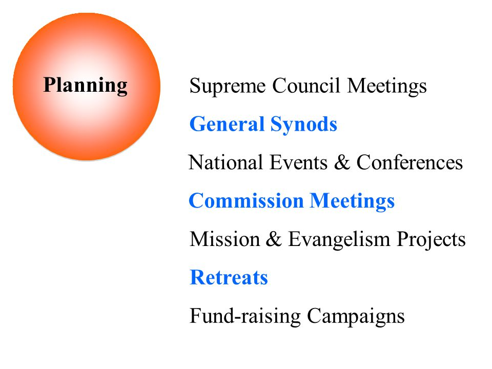 Supreme Council Meetings General Synods National Events & Conferences Commission Meetings Mission & Evangelism Projects Retreats Fund-raising Campaigns Planning