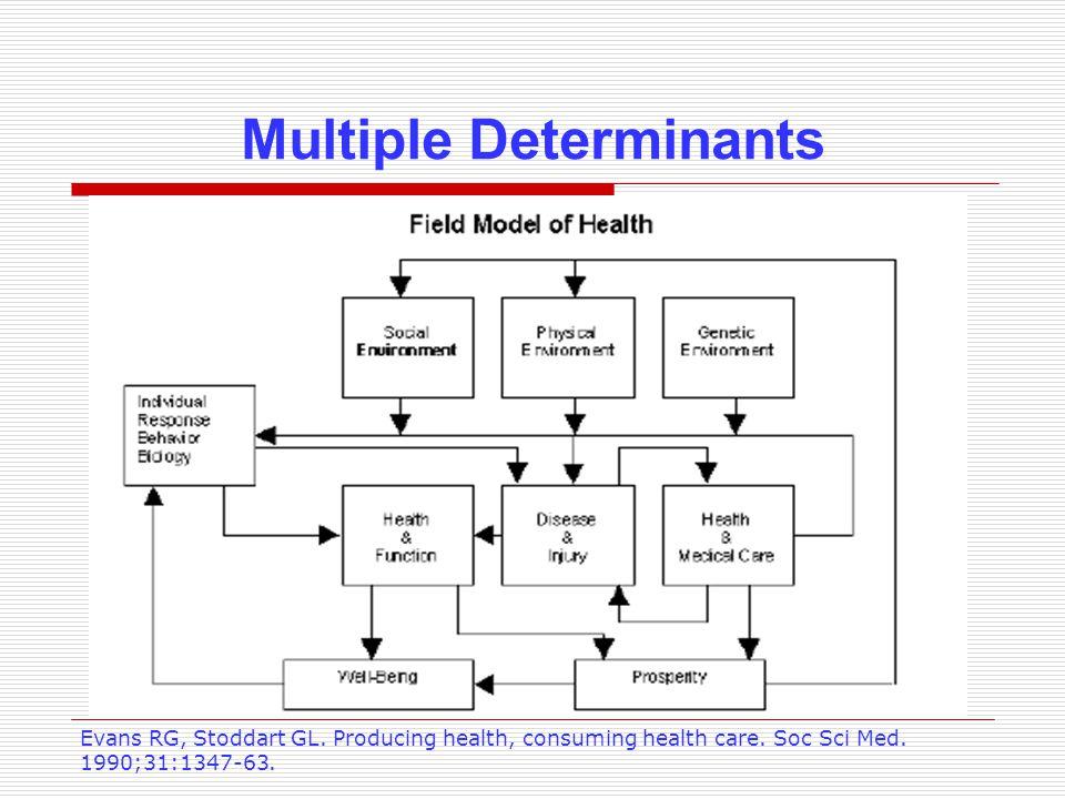 Multiple Determinants Evans RG, Stoddart GL. Producing health, consuming health care. Soc Sci Med. 1990;31:1347-63.