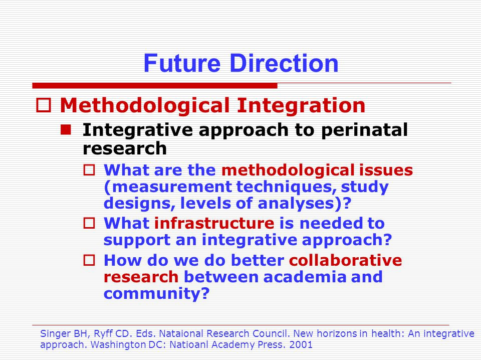 Future Direction  Methodological Integration Integrative approach to perinatal research  What are the methodological issues (measurement techniques, study designs, levels of analyses).