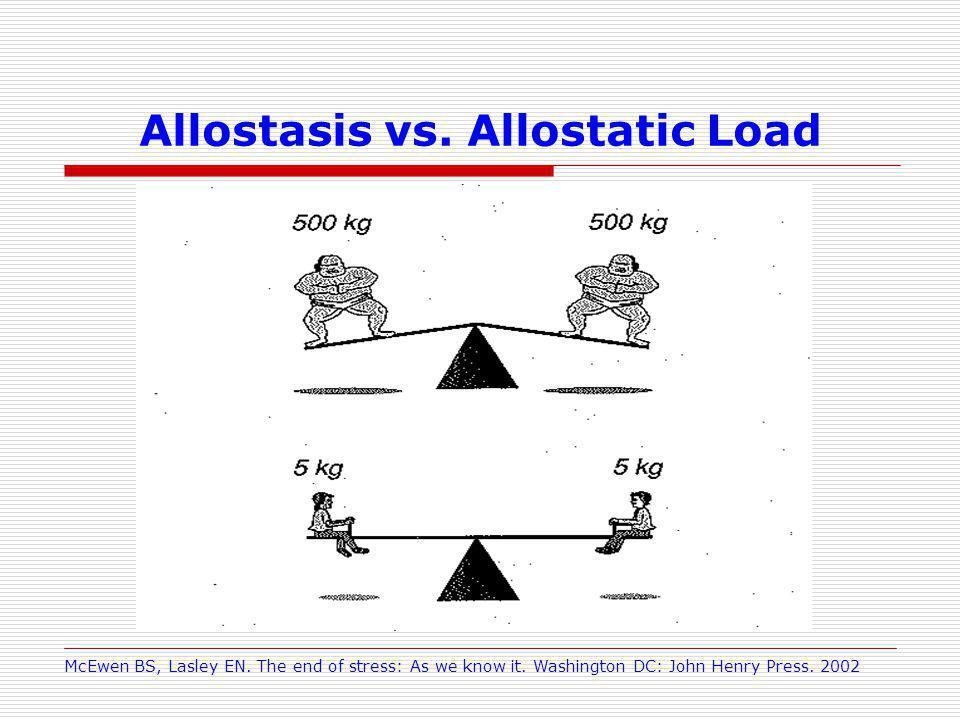 Allostasis vs. Allostatic Load McEwen BS, Lasley EN.