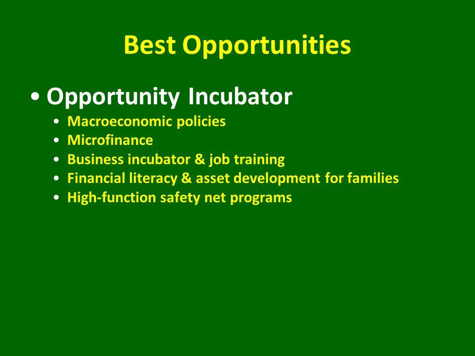 Best Opportunities Opportunity Incubator Macroeconomic policies Microfinance Business incubator & job training Financial literacy & asset development