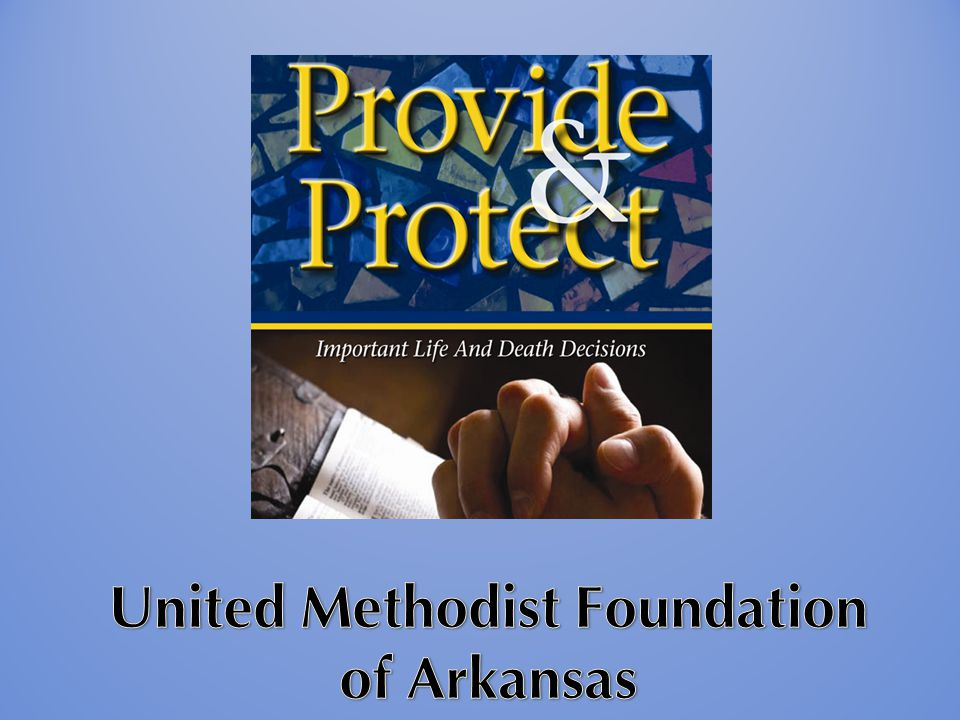 United Methodist Foundation of Arkansas Non-profit chartered in 1963 $130 million in assets Sixth largest of 52 UM Foundations Over 650 accounts 30 Board Members, Clergy & Lay 6 Staff members