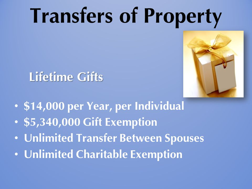 Transfers of Property $14,000 per Year, per Individual $5,340,000 Gift Exemption Unlimited Transfer Between Spouses Unlimited Charitable Exemption Lif