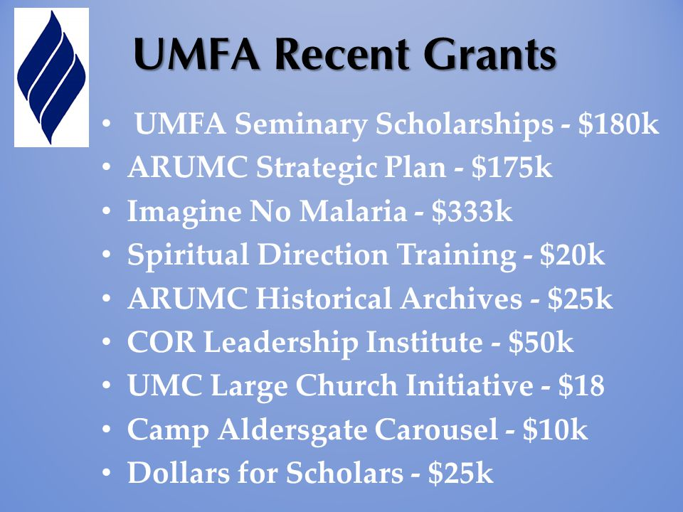 UMFA Seminary Scholarships - $180k ARUMC Strategic Plan - $175k Imagine No Malaria - $333k Spiritual Direction Training - $20k ARUMC Historical Archiv