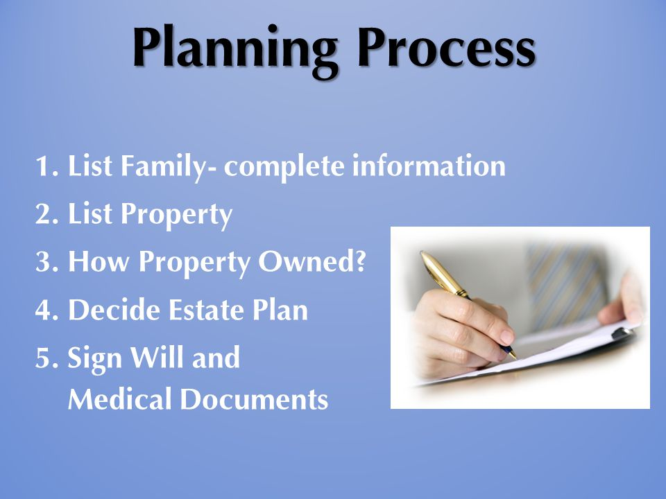 Planning Process 1. List Family- complete information 2.