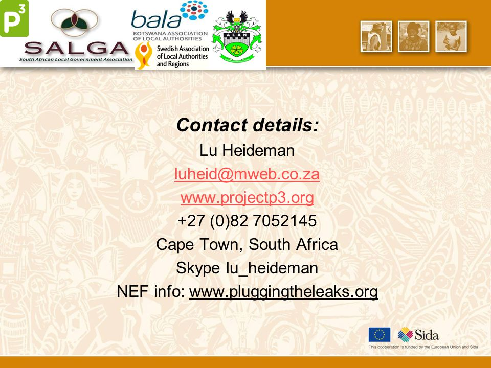 Contact details: Lu Heideman luheid@mweb.co.za www.projectp3.org +27 (0)82 7052145 Cape Town, South Africa Skype lu_heideman NEF info: www.pluggingtheleaks.org