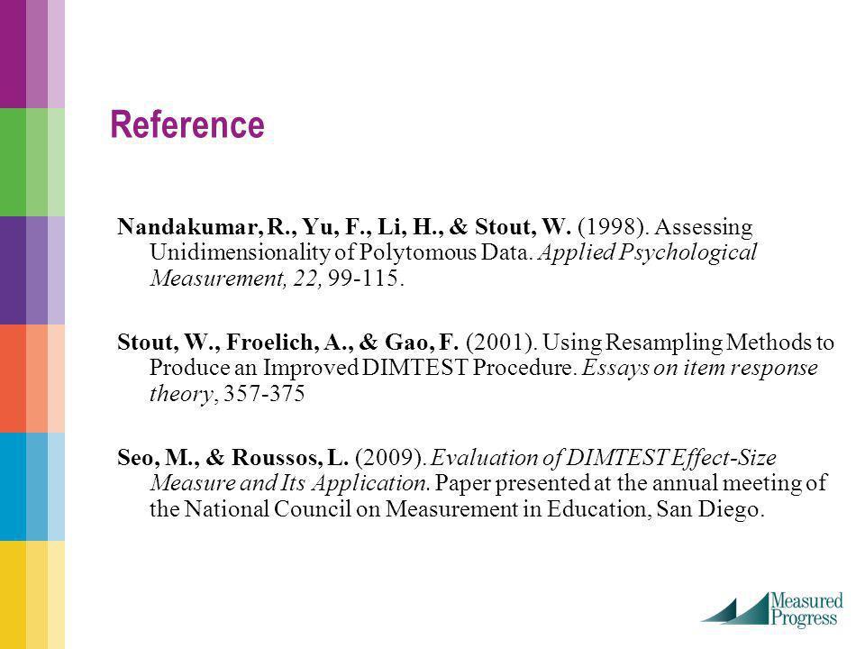 Reference Nandakumar, R., Yu, F., Li, H., & Stout, W.