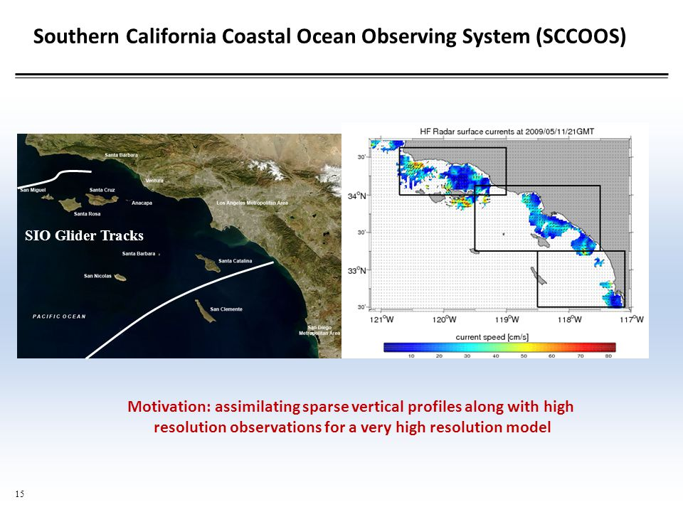 15 Southern California Coastal Ocean Observing System (SCCOOS) SIO Glider Tracks Motivation: assimilating sparse vertical profiles along with high resolution observations for a very high resolution model