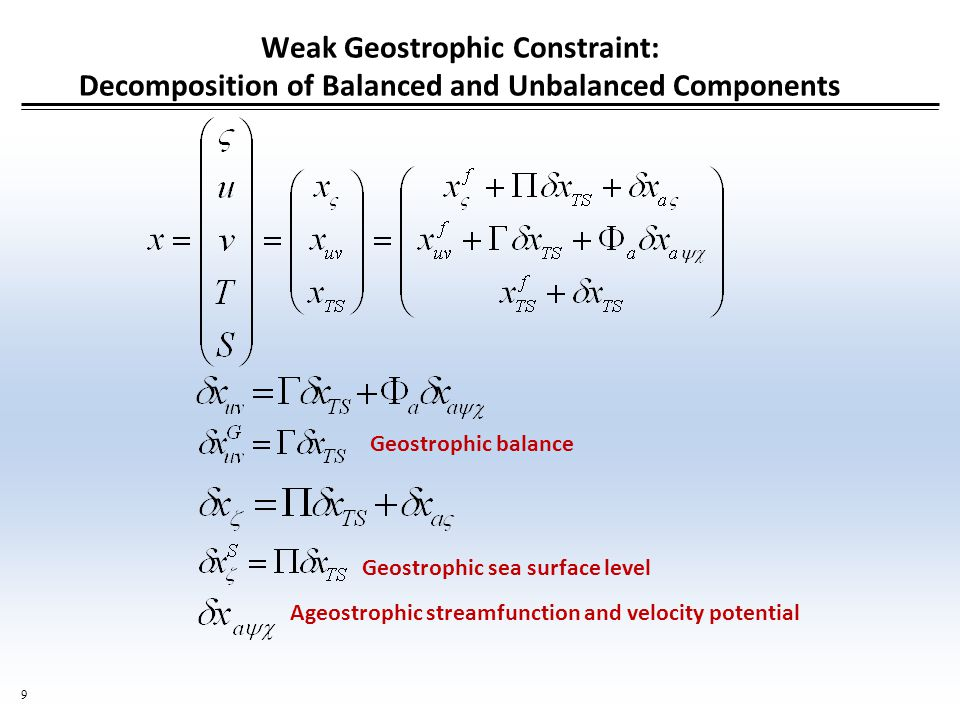 9 Weak Geostrophic Constraint: Decomposition of Balanced and Unbalanced Components Geostrophic balance Geostrophic sea surface level Ageostrophic streamfunction and velocity potential