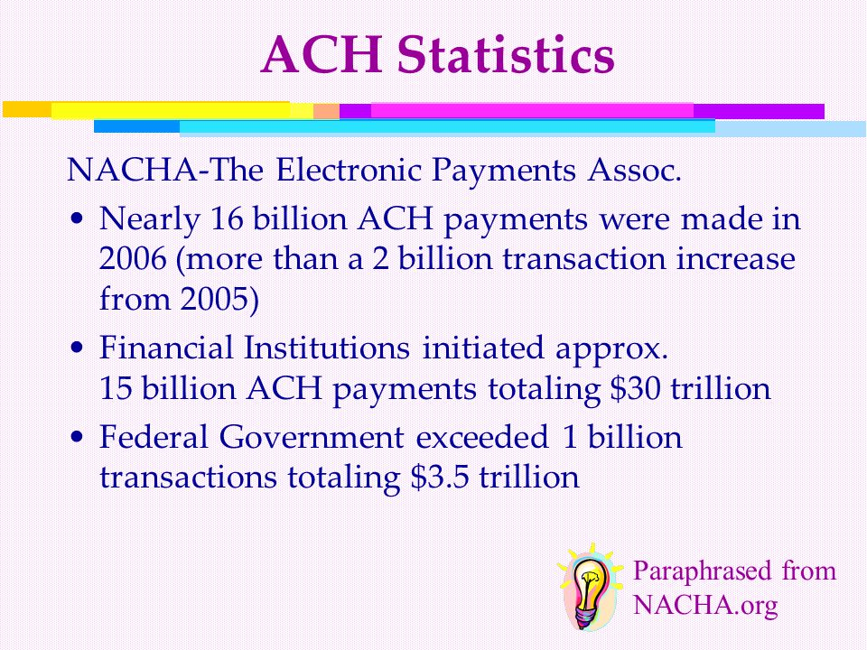 ACH Statistics NACHA-The Electronic Payments Assoc.