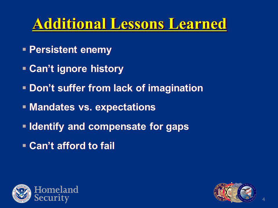 4 Additional Lessons Learned  Persistent enemy  Can't ignore history  Don't suffer from lack of imagination  Mandates vs.