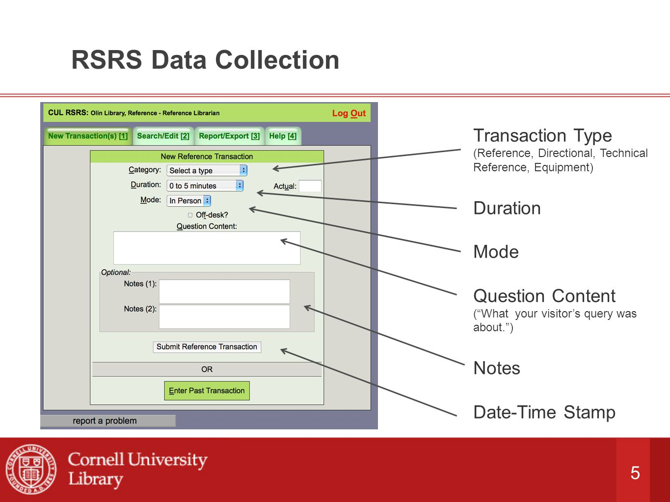 5 RSRS Data Collection Transaction Type (Reference, Directional, Technical Reference, Equipment) Duration Mode Question Content ( What your visitor's query was about. ) Notes Date-Time Stamp