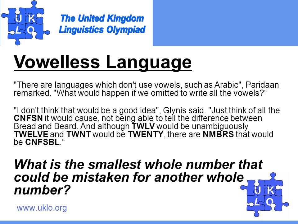 www.uklo.org Vowelless Language There are languages which don t use vowels, such as Arabic , Paridaan remarked.