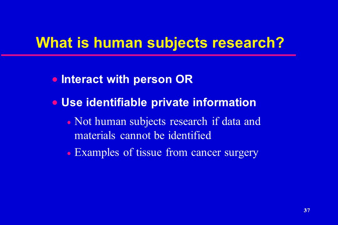 What is human subjects research.