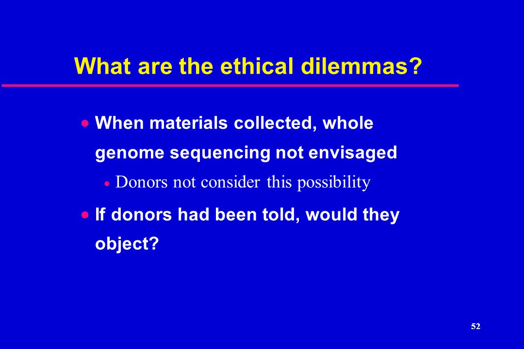 52 What are the ethical dilemmas.