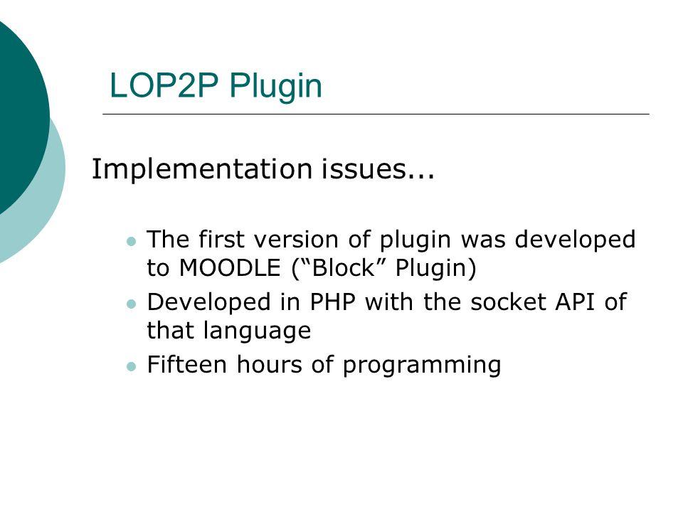 LOP2P Plugin Implementation issues...