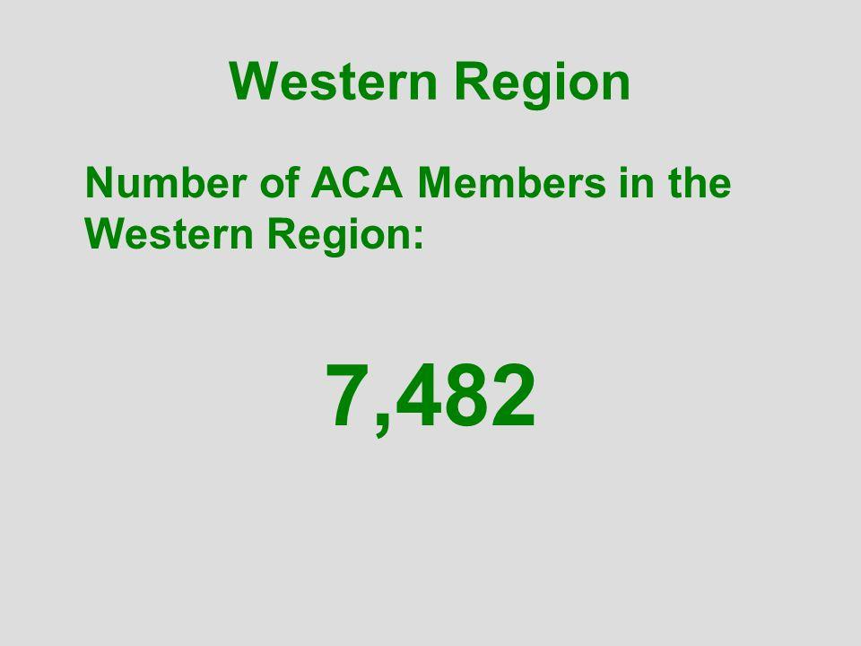 Western Region Number of ACA Members in the Western Region: 7,482