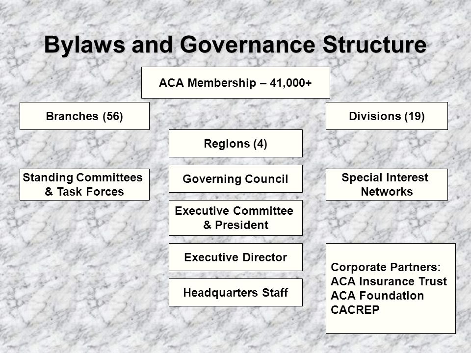 Bylaws and Governance Structure ACA Membership – 41,000+ Branches (56)Divisions (19) Regions (4) Standing Committees & Task Forces Governing Council Special Interest Networks Executive Committee & President Executive Director Headquarters Staff Corporate Partners: ACA Insurance Trust ACA Foundation CACREP