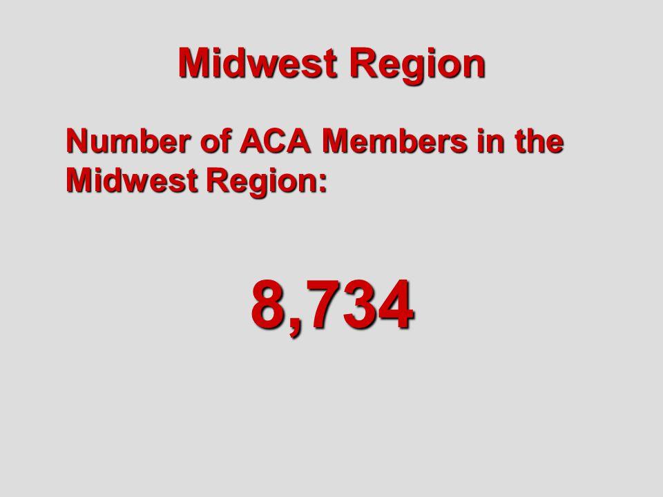 Midwest Region Number of ACA Members in the Midwest Region: 8,734