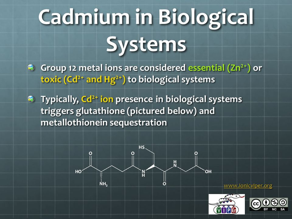 Cadmium in Biological Systems Group 12 metal ions are considered essential (Zn 2+ ) or toxic (Cd 2+ and Hg 2+ ) to biological systems Typically, Cd 2+ ion presence in biological systems triggers glutathione (pictured below) and metallothionein sequestration www.ionicviper.org