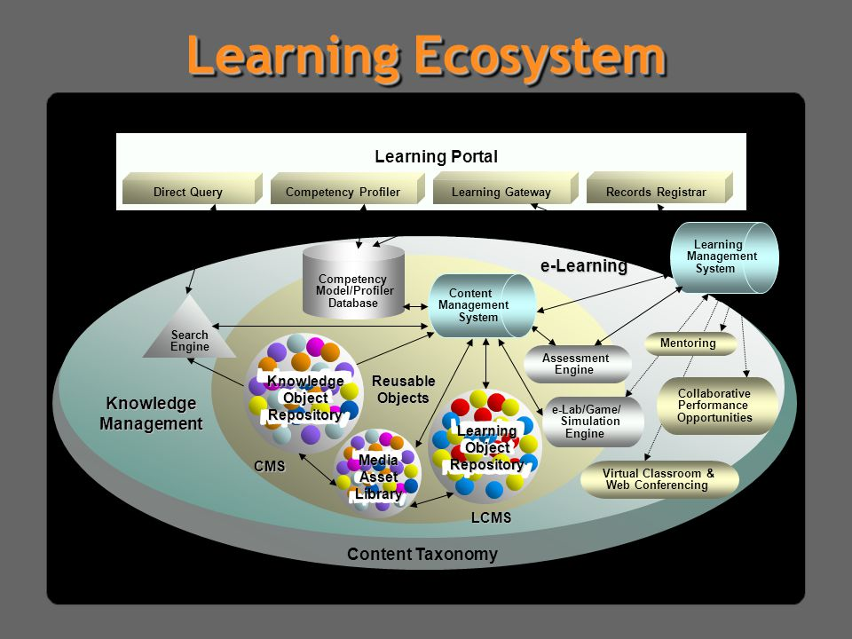 Learning Ecosystem d Learning Portal Competency Profiler Learning Gateway Direct Query Records Registrar d e-Learning Assessment Engine Content Manage