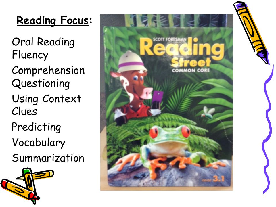Reading Focus: Oral Reading Fluency Comprehension Questioning Using Context Clues Predicting Vocabulary Summarization