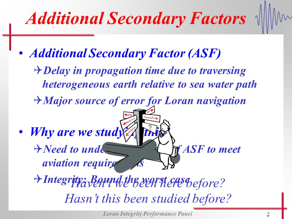 Loran Integrity Performance Panel 2 Additional Secondary Factors Additional Secondary Factor (ASF) QDelay in propagation time due to traversing heterogeneous earth relative to sea water path QMajor source of error for Loran navigation Why are we studying this.