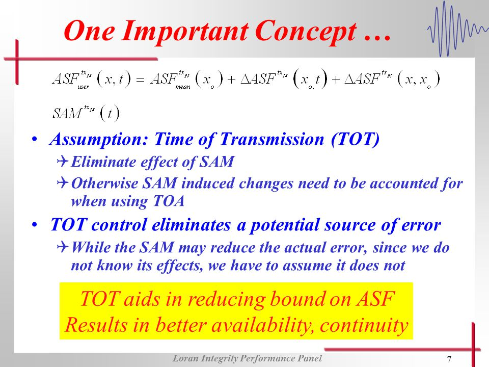 Loran Integrity Performance Panel 7 One Important Concept … Assumption: Time of Transmission (TOT) QEliminate effect of SAM QOtherwise SAM induced changes need to be accounted for when using TOA TOT control eliminates a potential source of error QWhile the SAM may reduce the actual error, since we do not know its effects, we have to assume it does not TOT aids in reducing bound on ASF Results in better availability, continuity