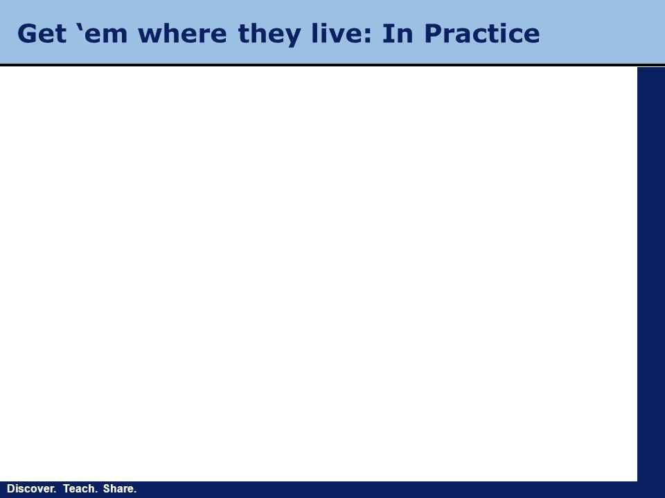 Discover. Teach. Share. Get 'em where they live: In Practice