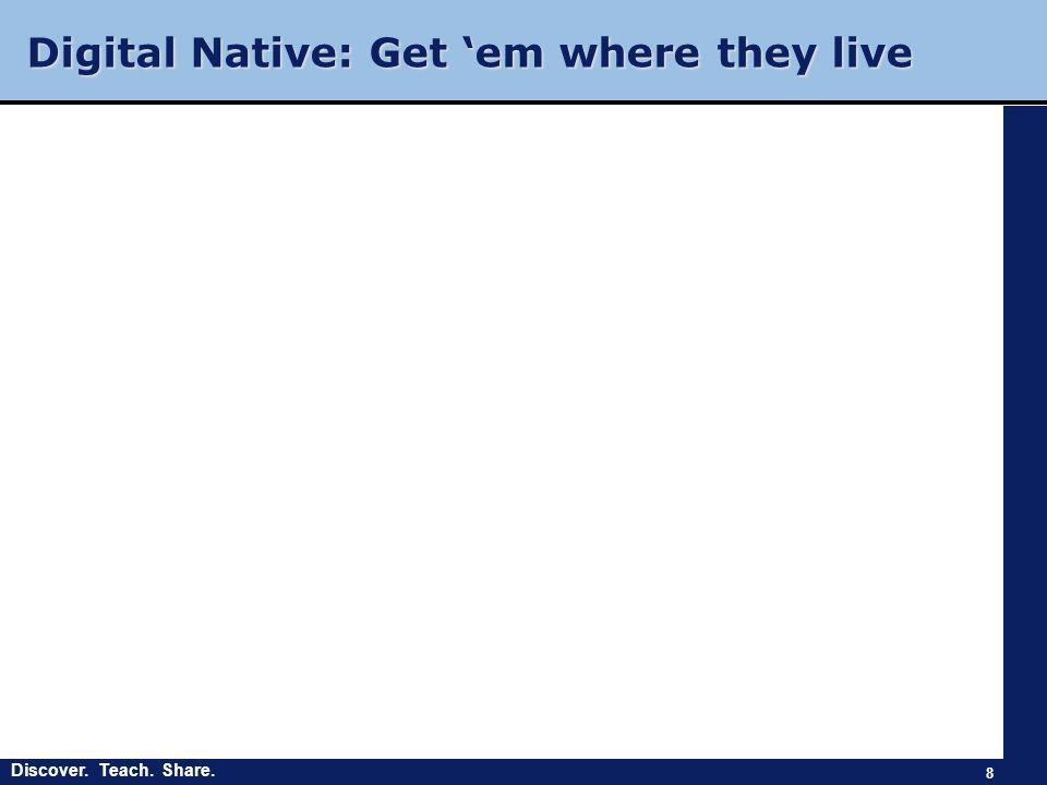 Discover. Teach. Share. Digital Native: Get 'em where they live 8