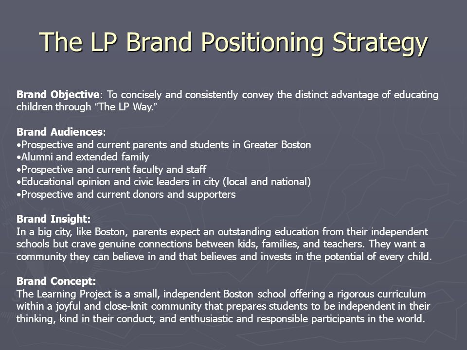 The LP Brand Positioning Strategy Brand Objective: To concisely and consistently convey the distinct advantage of educating children through The LP Way.