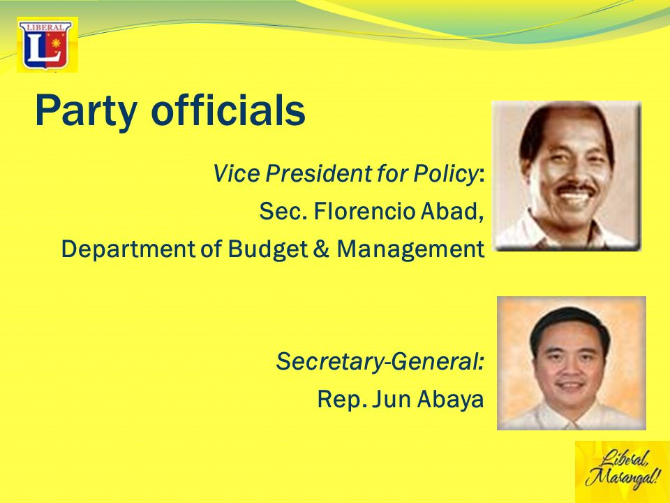 Party officials Vice President for Policy: Sec.