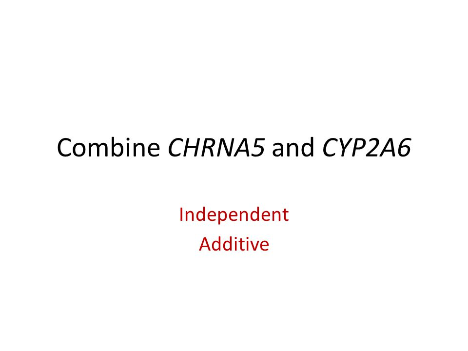 Combine CHRNA5 and CYP2A6 Independent Additive