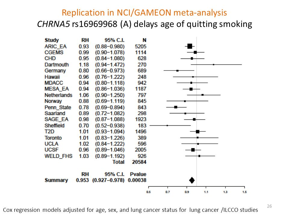 Replication in NCI/GAMEON meta-analysis CHRNA5 rs16969968 (A) delays age of quitting smoking Cox regression models adjusted for age, sex, and lung cancer status for lung cancer /ILCCO studies 26
