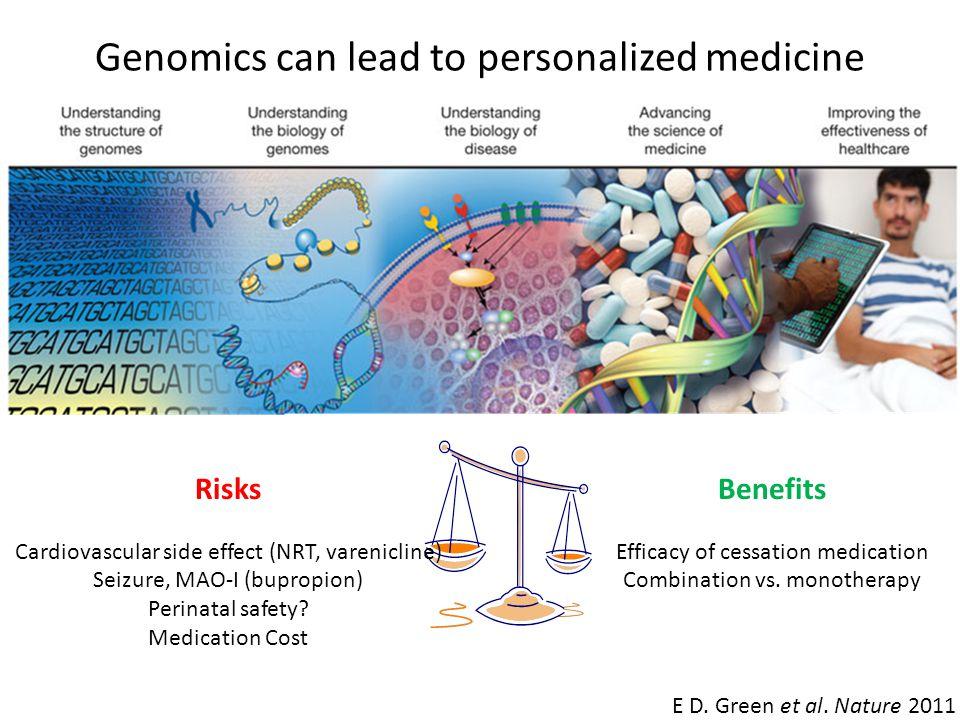E D. Green et al. Nature 2011 Genomics can lead to personalized medicine Risks Cardiovascular side effect (NRT, varenicline) Seizure, MAO-I (bupropion
