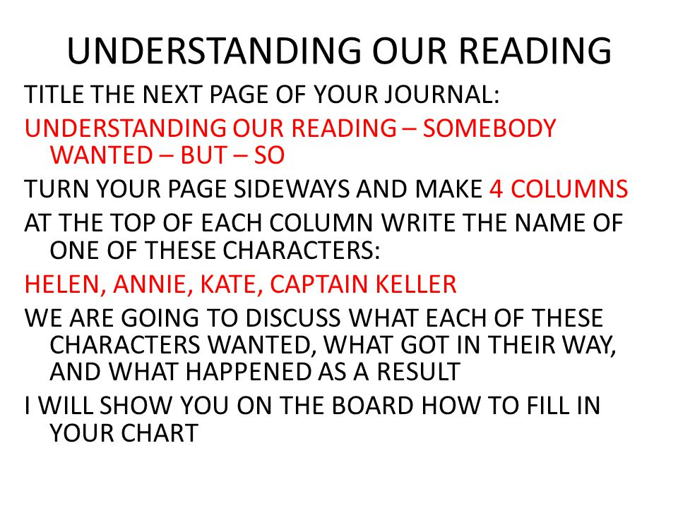 UNDERSTANDING OUR READING TITLE THE NEXT PAGE OF YOUR JOURNAL: UNDERSTANDING OUR READING – SOMEBODY WANTED – BUT – SO TURN YOUR PAGE SIDEWAYS AND MAKE 4 COLUMNS AT THE TOP OF EACH COLUMN WRITE THE NAME OF ONE OF THESE CHARACTERS: HELEN, ANNIE, KATE, CAPTAIN KELLER WE ARE GOING TO DISCUSS WHAT EACH OF THESE CHARACTERS WANTED, WHAT GOT IN THEIR WAY, AND WHAT HAPPENED AS A RESULT I WILL SHOW YOU ON THE BOARD HOW TO FILL IN YOUR CHART