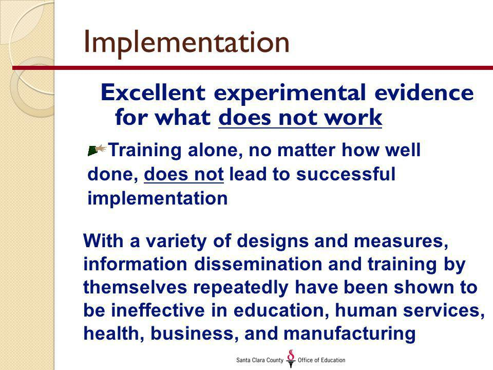 Implementation Excellent experimental evidence for what does not work Training alone, no matter how well done, does not lead to successful implementation With a variety of designs and measures, information dissemination and training by themselves repeatedly have been shown to be ineffective in education, human services, health, business, and manufacturing
