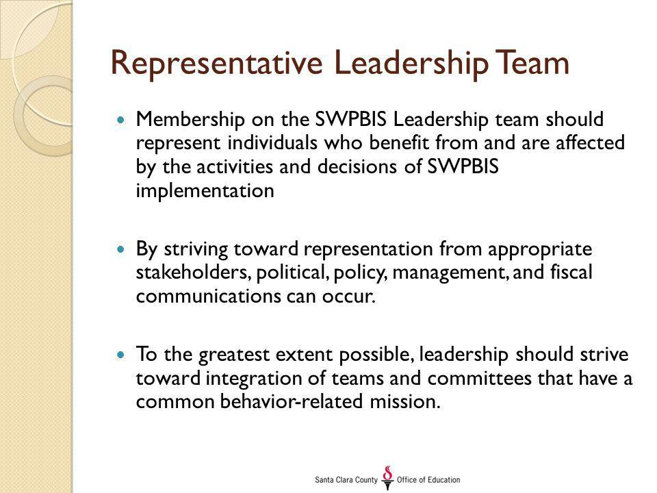 Representative Leadership Team Membership on the SWPBIS Leadership team should represent individuals who benefit from and are affected by the activities and decisions of SWPBIS implementation By striving toward representation from appropriate stakeholders, political, policy, management, and fiscal communications can occur.