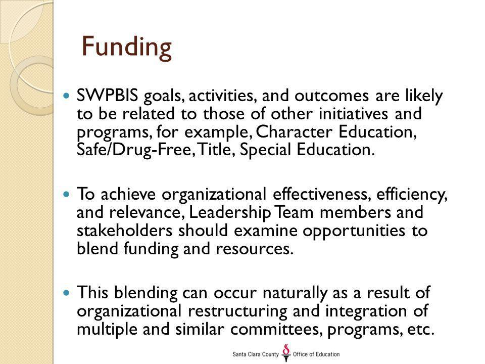 Funding SWPBIS goals, activities, and outcomes are likely to be related to those of other initiatives and programs, for example, Character Education, Safe/Drug-Free, Title, Special Education.