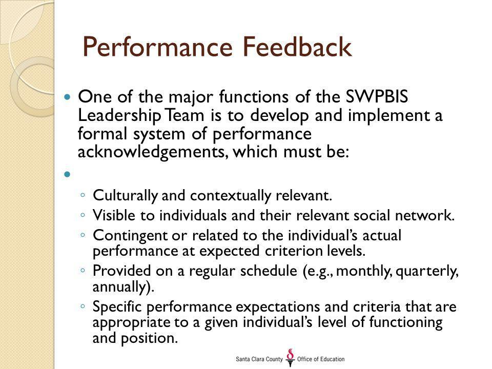 Performance Feedback One of the major functions of the SWPBIS Leadership Team is to develop and implement a formal system of performance acknowledgeme