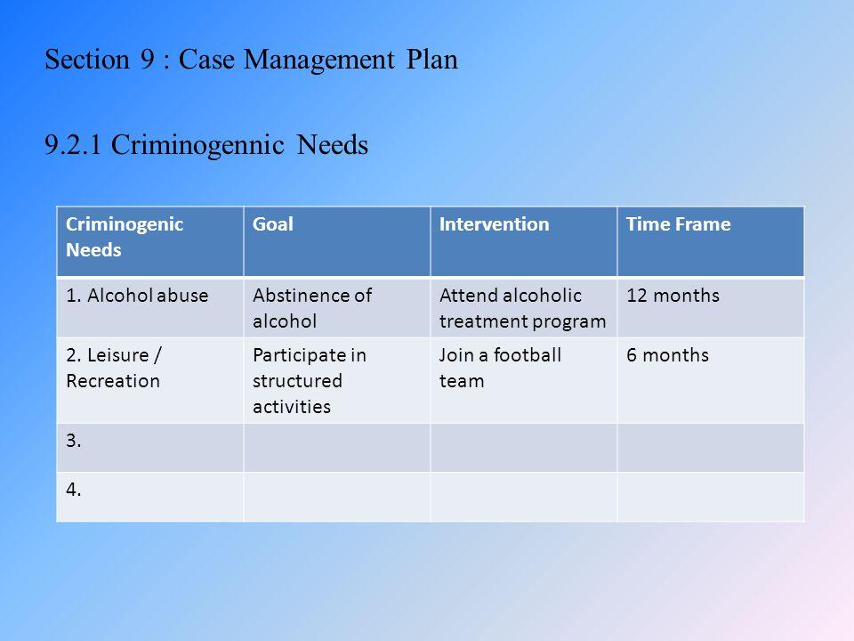 Section 9 : Case Management Plan 9.2.1 Criminogennic Needs Criminogenic Needs GoalInterventionTime Frame 1. Alcohol abuseAbstinence of alcohol Attend