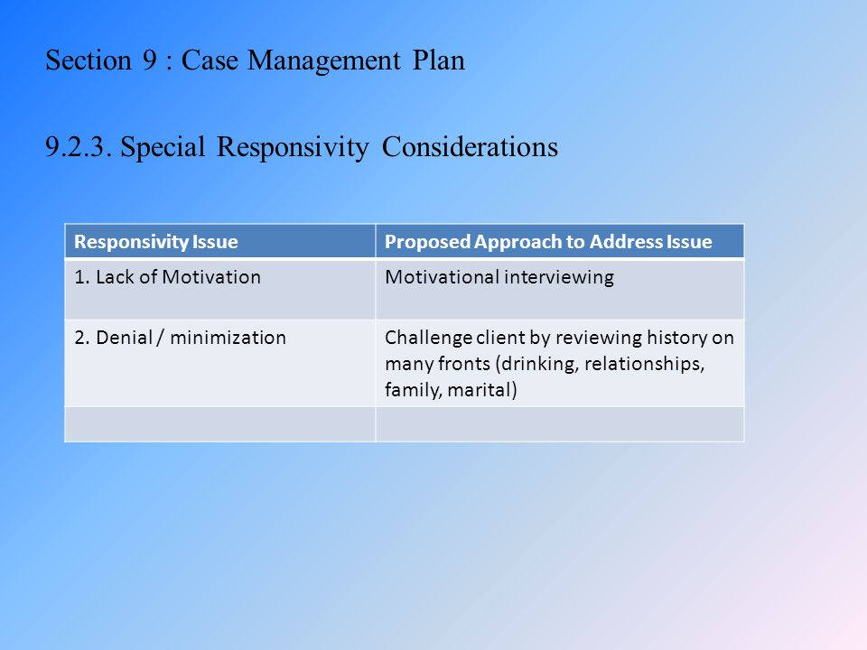 Section 9 : Case Management Plan 9.2.3. Special Responsivity Considerations Responsivity IssueProposed Approach to Address Issue 1. Lack of Motivation