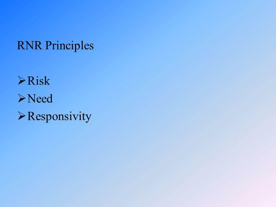 RNR Principles  Risk  Need  Responsivity