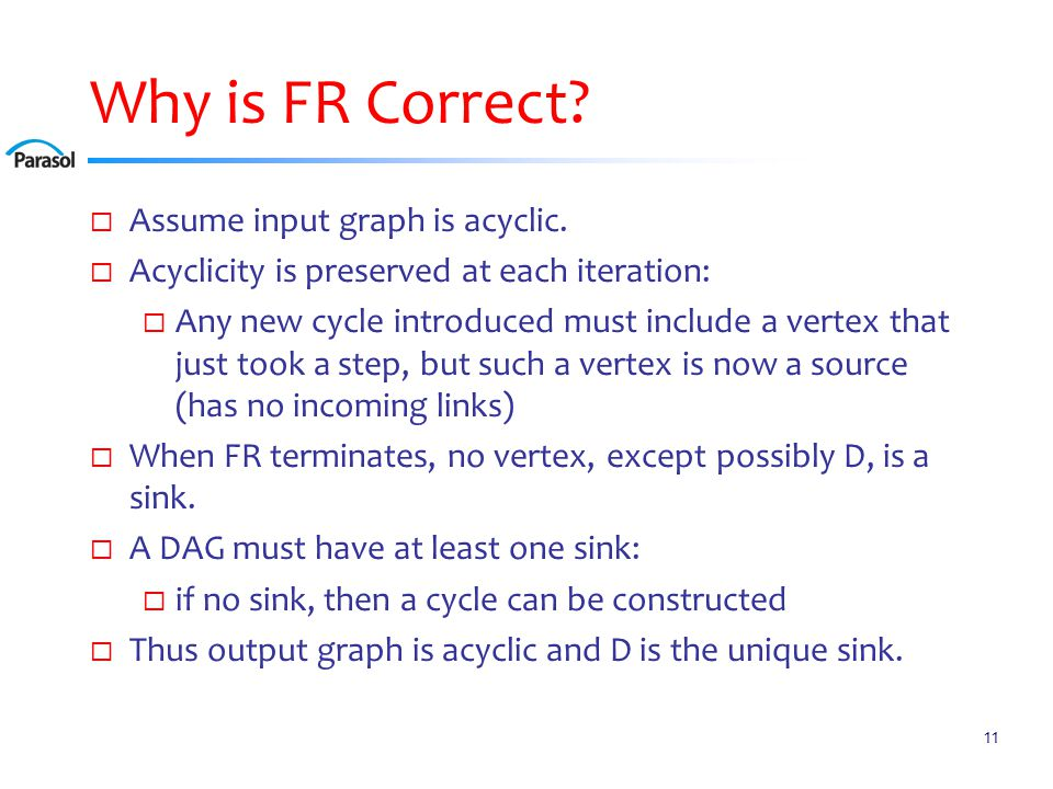 Why is FR Correct?  Assume input graph is acyclic.  Acyclicity is preserved at each iteration:  Any new cycle introduced must include a vertex that