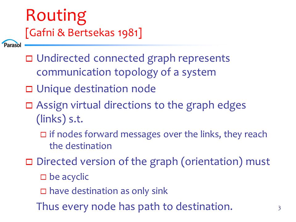 Routing [Gafni & Bertsekas 1981]  Undirected connected graph represents communication topology of a system  Unique destination node  Assign virtual directions to the graph edges (links) s.t.