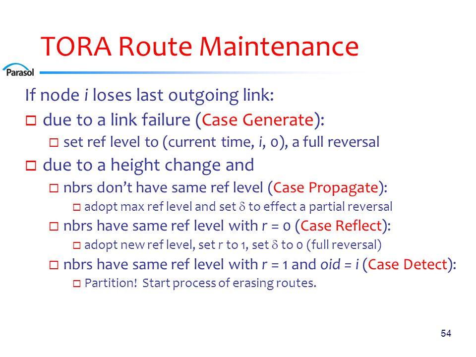 54 TORA Route Maintenance If node i loses last outgoing link:  due to a link failure (Case Generate):  set ref level to (current time, i, 0), a full