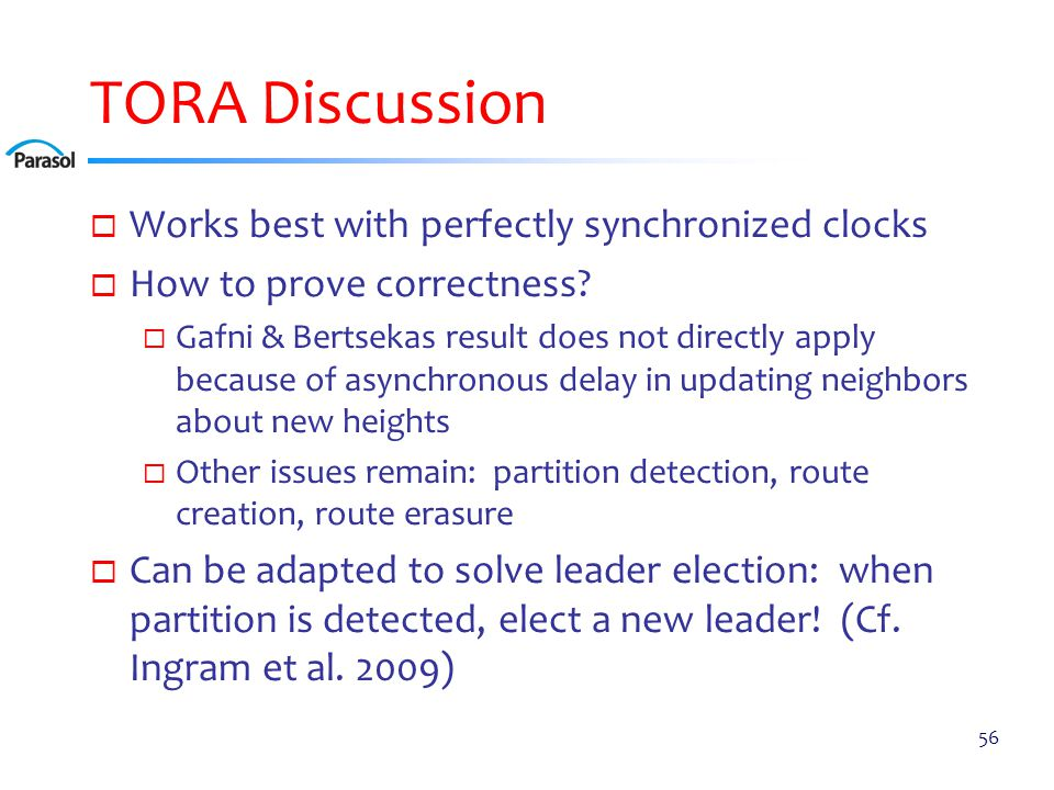 TORA Discussion  Works best with perfectly synchronized clocks  How to prove correctness?  Gafni & Bertsekas result does not directly apply because