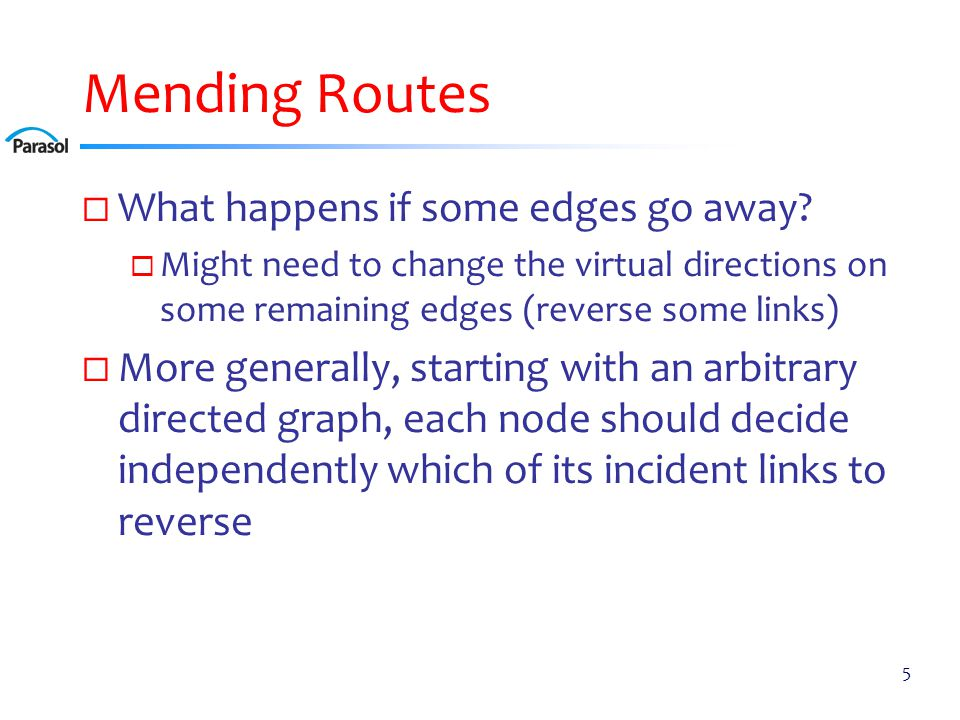 Mending Routes  What happens if some edges go away.